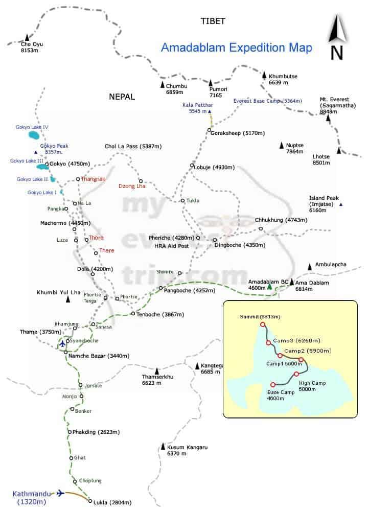 Amadablam expedition map